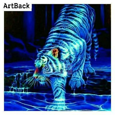 5D Diamond Painting Electric Blue Tiger Kit