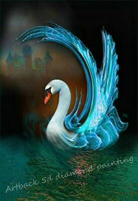 5D Diamond Painting Blue Abstract Swan Kit