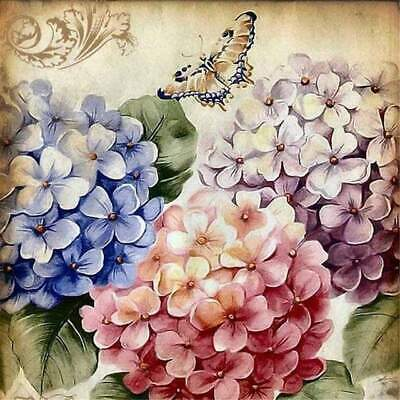 5D Diamond Painting Hydrangeas and a Butterfly Kit