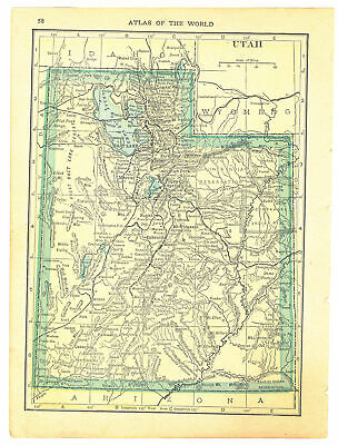 Spokesman Handy Atlas Vintage Map Pages (Utah on one side - Idaho on one side)