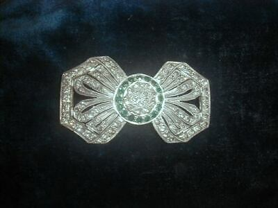 Antique 1930s Art Deco Green & Sparkling Clear Rhinestones Buckle Excellent Lrg