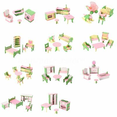 49Pcs 11 Sets Baby Wooden Furniture Dolls House Miniature Child Play Toys G W7V6