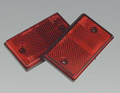 Genuine SEALEY TB24 | Reflex Reflector Red Oblong Pack of 2