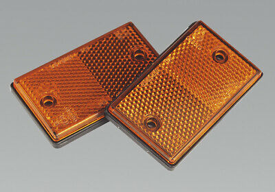 Genuine SEALEY TB25 | Reflex Reflector Amber Oblong Pack of 2