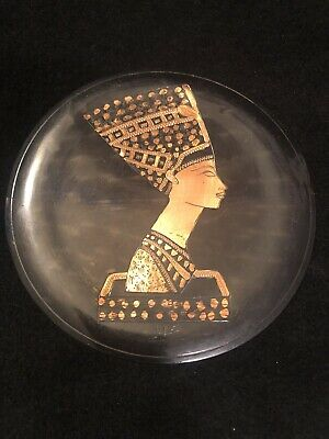 Vintage Copper Etched Plate Egyptian Queen Nefertiti Made in Egypt Souvenir