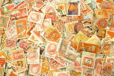 100 Assorted ORANGE Cancelled Postage Stamps Vintage USA & Foreign