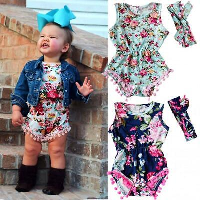 Kids Girl's Wear O-neck Sleeveless Floral Tassel Stretchy Romper with U8HE