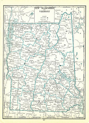 1935 Atlas of the World Vintage Map Pages - New Hampshire Vermont Map on one ...