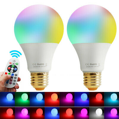 2x 10W E26 RGBW LED Light Bulb Multi Color Change Magic Mood Lamp+Remote Control