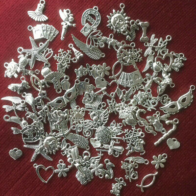 AU 50g Tibetan Silver Mixed Beads Charms Accessories Jewellery Making Crafts Bag
