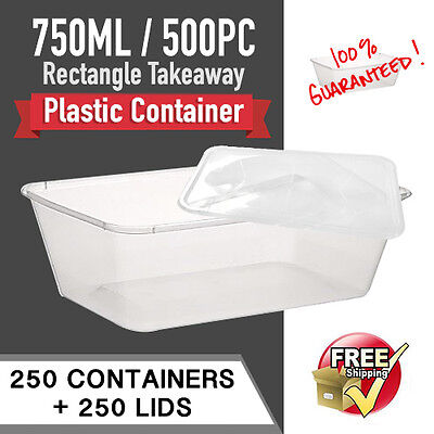 Disposable Rectangular Plastic Containers 750 ML 250 P/C+ 250pc Lids-Sydney Only