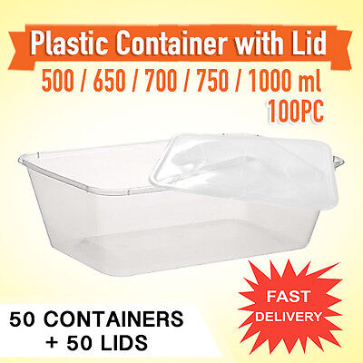 Disposable Rectangular Plastic 50PC Takeaway Containers & Lids 50PC-Sydney Only