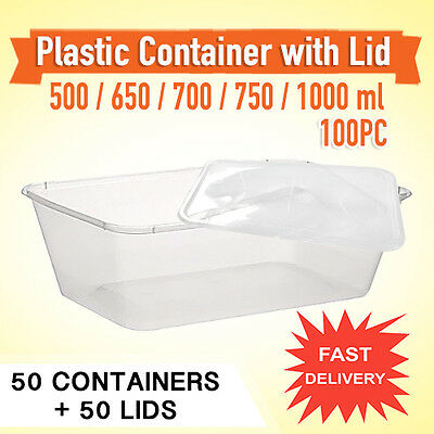 Disposable Rectangular Plastic 50PC Containers & Lids 50PC-Sydney Only