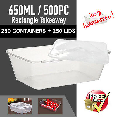 Disposable Rectangular Containers 650 ML 250 PC+Plastic Lids 250PC-Sydney Only