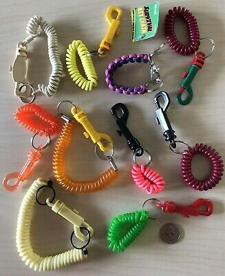 Lot of 10 Stretchy Coil Wrist bands Keychains Key Rings #34664