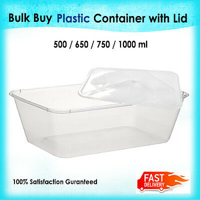 Food Containers Plastic Take away Lids Storage Bulk 500ml 650ml 750ml 1000ml New