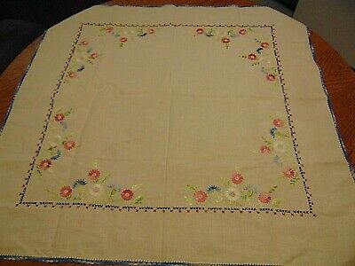 """Vintage Hand Embroidered FLORAL Crocheted edge Cotton Tablecloth 32"""" x 33 1/2"""""""