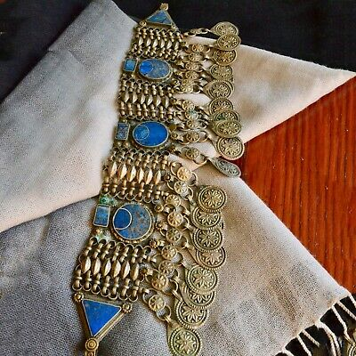 *Vintage 20/30's Yemeni Tribal Ethnic Lapis Silver Tone Piece of Belt Costume