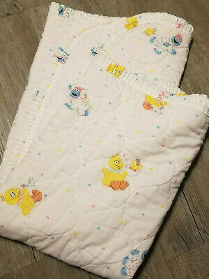 Vintage Riegel Sesame Street Big Bird Cookie Monster White Quilted Baby Blanket