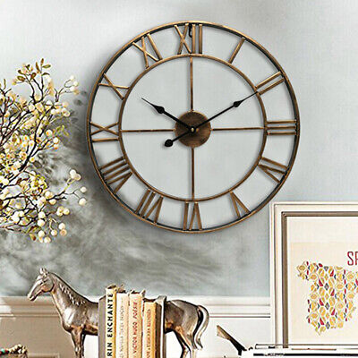 Large Wall Clock Metal Roman Numeral 40 60cm Round Black Gold Au Q9h0p