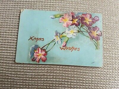Vintage Collectible Postcard early 1900s FLOWERS Xmas with glitter highlights
