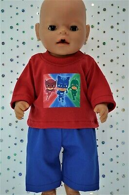 "Play n Wear Boys Dolls Clothes For 17"" Baby Born  ROYAL BLUE DRILL PANTS~T-SHIRT"