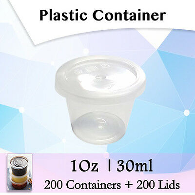 Disposable Plastic Takeaway Sauce 200 Containers +200 Lids:1 Oz 30ml-Sydney Only