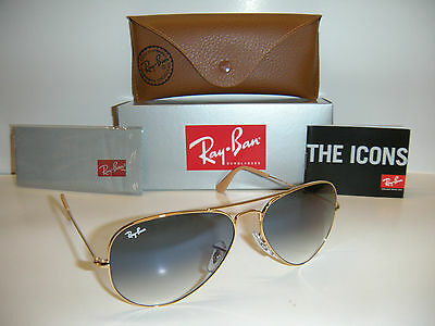 Authentic Ray Ban Aviator 3025 Gold Frame Blue Gradient RB3025 001/3F 58MM MED