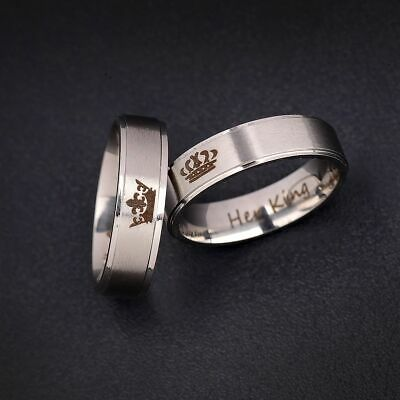 Couple His Queen Her King Titanium Steel Engagement Lover Rings Valentine Gift