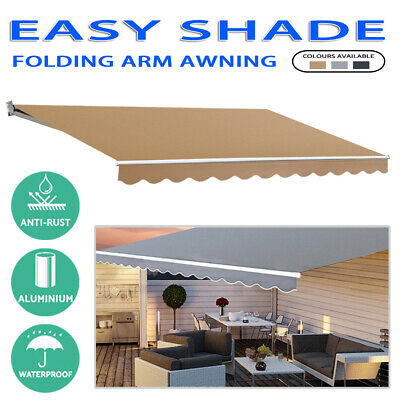 Outdoor Folding Arm Awning Retractable Sunshade 4 sizes/3 colors AU SHIP