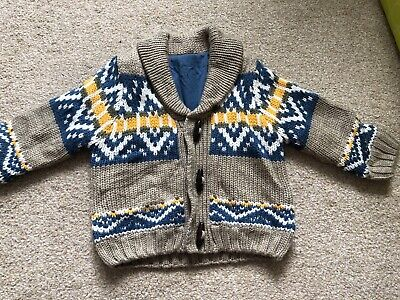 Mothercare Baby Boys Cardigan Up To 3 Months/ 8kg Beige Blue NEW