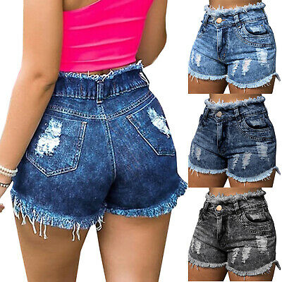 Ladies Girls Tassels High Waist Frayed Ripped Denim Shorts Pants Casual Trousers