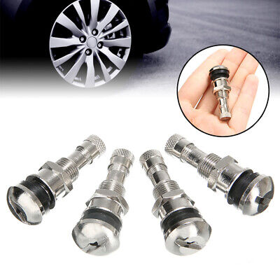 4 X BOLT IN CHROME SILVER METAL CAR TYRE VALVES FIT ALLOY WHEELS FIT OPEL MODELS