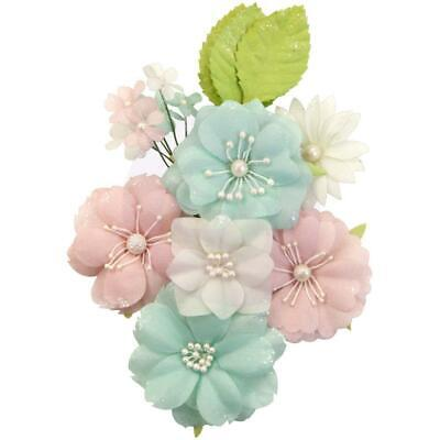 NEW Prima Marketing - Mulberry Paper Flowers - Tangerine Fresh/Apricot Honey