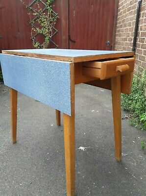 60s vintage formica extendable table blue pattern/solid beech, good condition