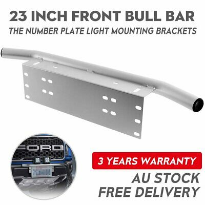 23'' Number Plate Frame Bull Bar Mount Bracket Silver Driving Light Bar Holder