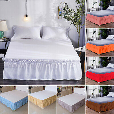 """16"""" Solid Elastic Bed Skirt Dust Ruffle Wrap Around Twin Queen King Pink Princes"""