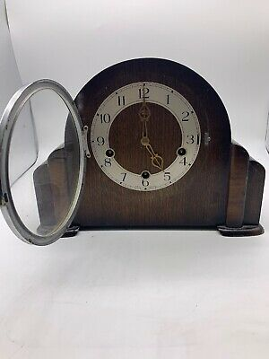 Vintage wooden mantel clock 1950's Smith Enfield Mechanical Chime movement