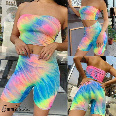 Women's Summer 2Piece Set Crop Top Shorts Bodycon Outfit Club Jumpsuit Bodycon