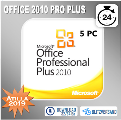 MS Office 2010 Professional Plus, Pro Plus 1/5PC 32&64 Bits, Direkt per E-Mail