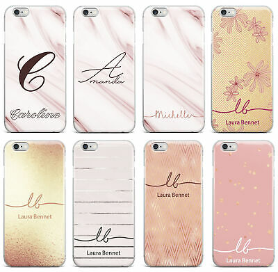 Personalised Name Initials Marble Glitter iPhone 5 6 7 8 X Phone Case Cover #76