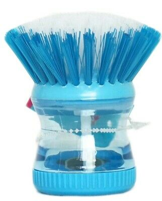 BLUE Soap Dispensing Washing Up Scrubber Brush Dishes Cleaning Scouring Pad