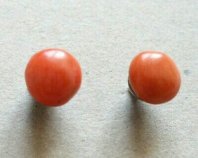 Antique Victorian Beautiful Natural Red Coral Sterling  Silver Stud Earrings.