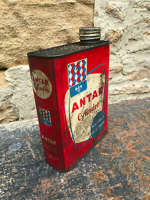 Bidon D'huile Ancien Antar Cylindre Vintage Retro Auto Garage Collection