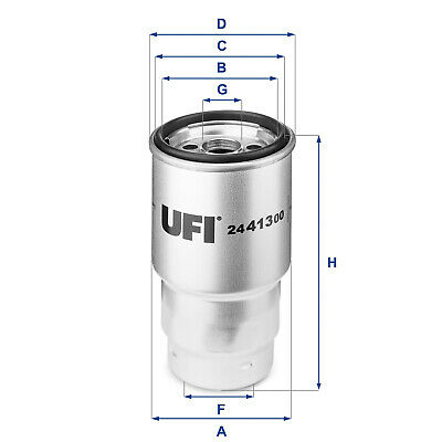 2441300 UFI Fuel Filter Diesel Replace R2L1-13-ZA5-B9A,WF8218,KC100,1457434440