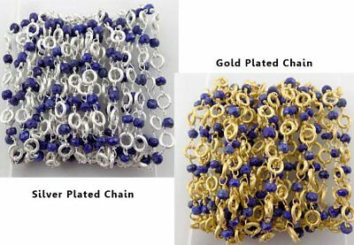 Natural Lapis Faceted With 5mm Brass Ring Wrap Rosary 24k Gold & Silver Plated