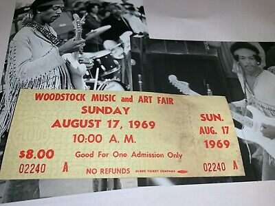 Woodstock Authentic Sunday 1969 Ticket Jimi Hendrix Janis Joplin Grateful Dead M