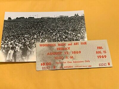 Woodstock Authentic Friday 1969 Ticket Jimi Hendrix Janis Joplin Grateful Dead I