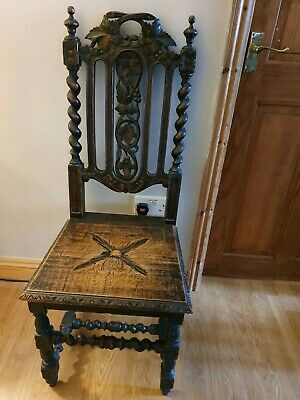 Antique Jacobean Style Oak Carved Side Chair Seat And Back