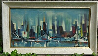Vintage 60's Mid Century Modern Abstract Expressionist Signed Oil Painting VG